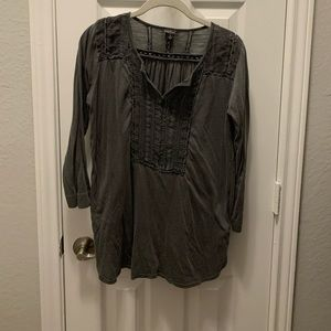 Lucky Brand Charcoal Cotton Top